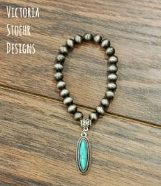 Natural Turquoise Stretch Charm Bracelet