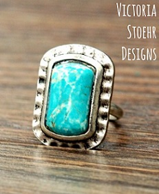 Natural Turquoise Hammered Edge Ring