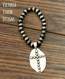 Cross Charm Stretch Pewter Navajo Bracelet