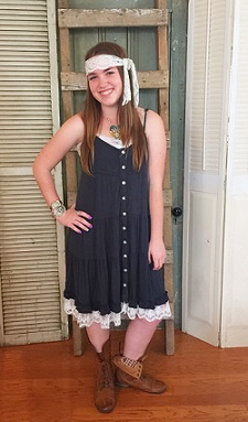 Adorable Tank Dress with Buttons and Lace Trim