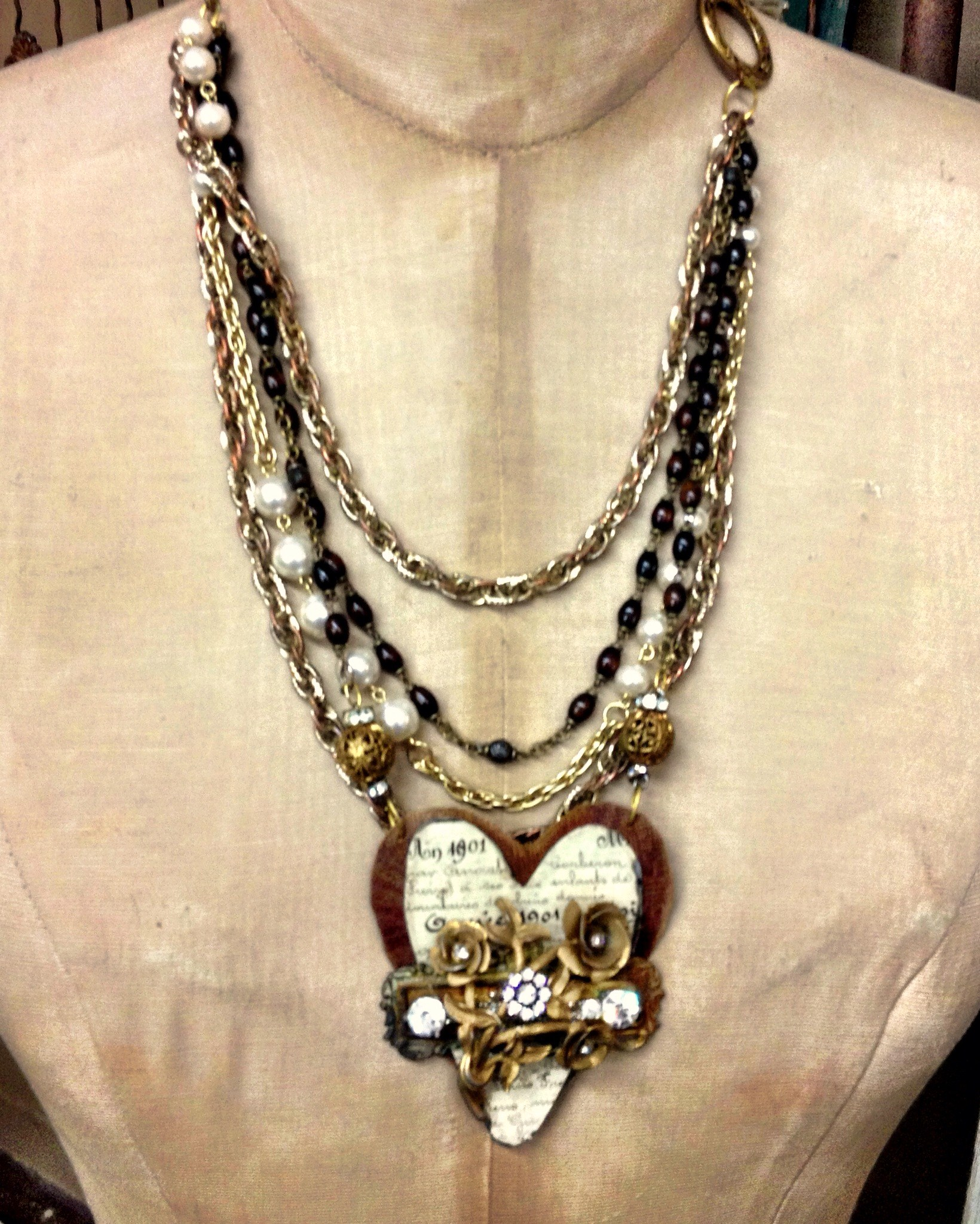 Swag Heart with Leather and Pearls