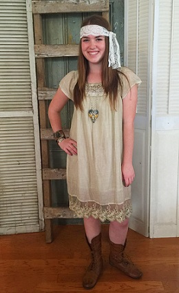 Layered Tea-Stained Dress with Crochet Accents