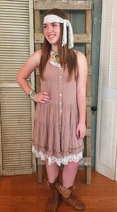Adorable Tank Dress wih Buttons and Lace Trim
