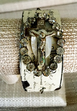 Antique Rosary Cross Bracelet