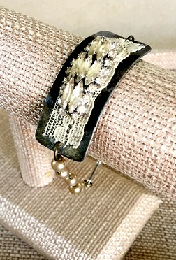 Steel-Cut Bracelet with Marquise-Cut Vintage Rhinestones and Lace